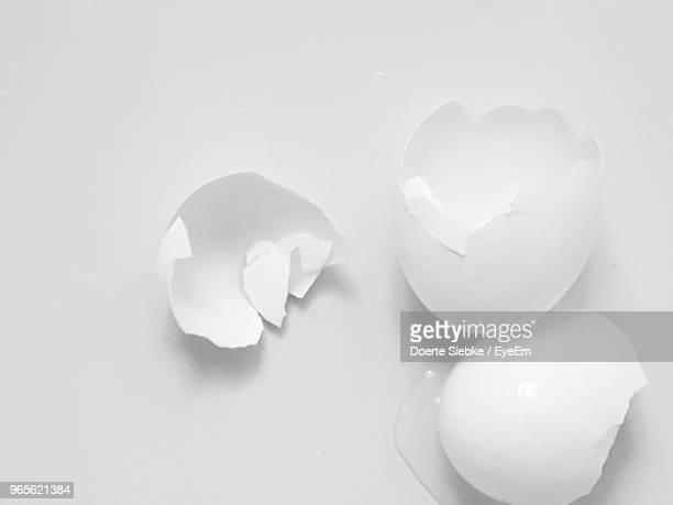 High Angle View Of Eggshell On Table