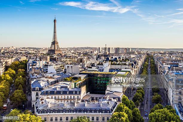 High Angle View Of Eiffel Tower And Cityscape