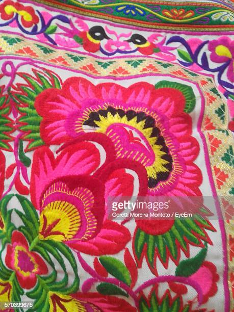 High Angle View Of Embroidery On Fabric