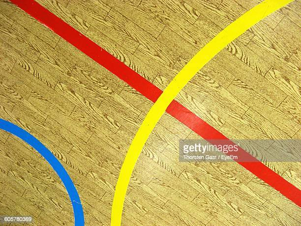 High Angle View Of Empty Basketball Court