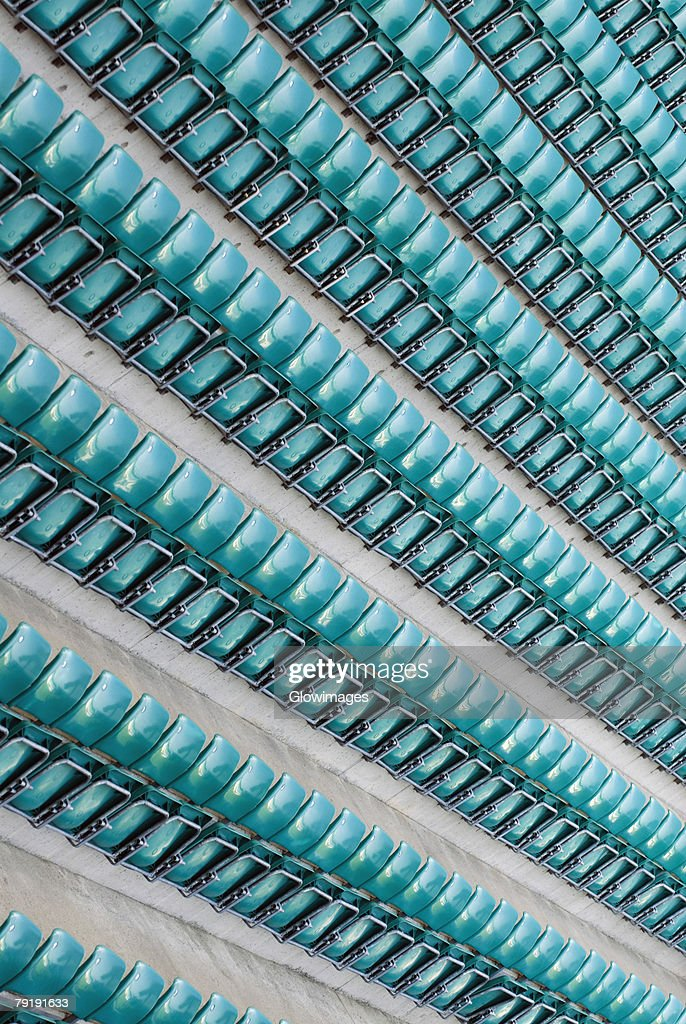 High angle view of empty bleachers in a stadium : Foto de stock