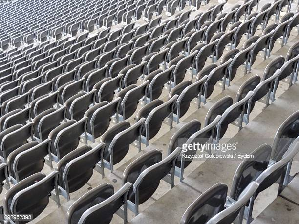 High Angle View Of Empty Chairs At Stadium