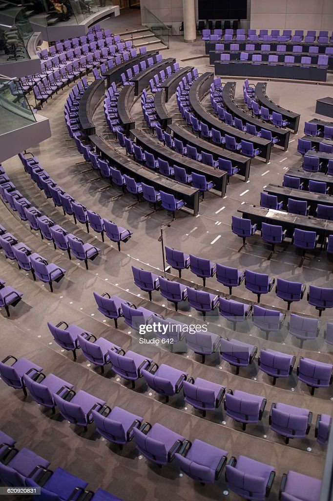 High angle view of empty chairs in German Parliament hall : Stock-Foto