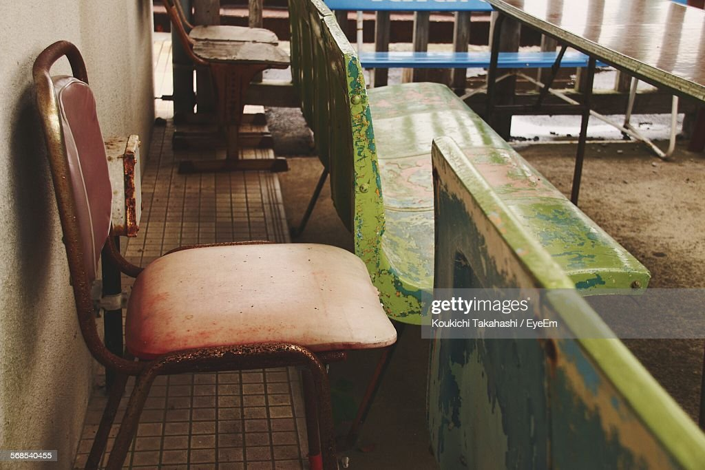 High Angle View Of Empty Chairs In Restaurant : Stock Photo