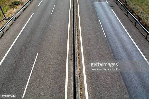 High Angle View Of Empty Highway