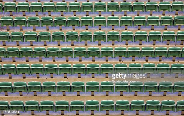 High angle view of empty seats in a stadium