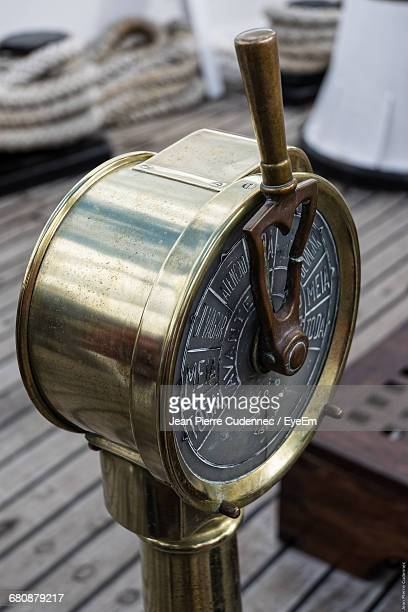 High Angle View Of Engine Order Telegraph On Ship