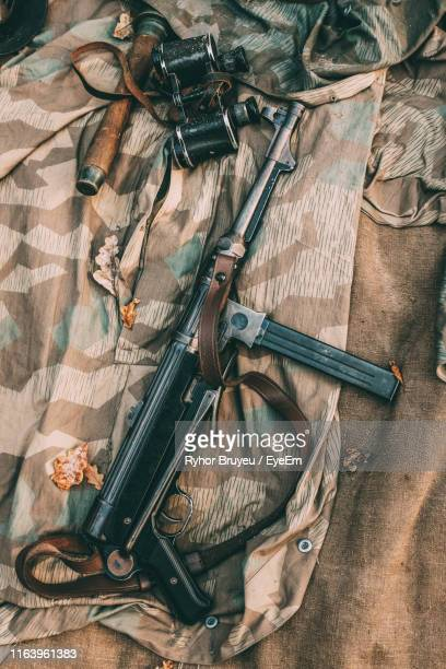 high angle view of equipment on textile - german military stock pictures, royalty-free photos & images