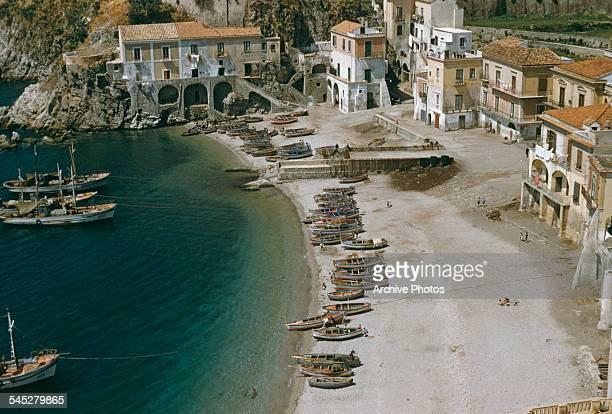 A high angle view of Erchie Campania on the Amalfi Coast Italy circa 1960