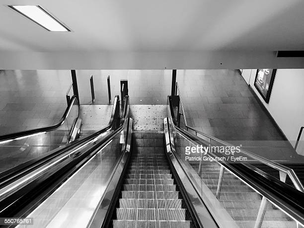 High Angle View Of Escalator Leading To Subway