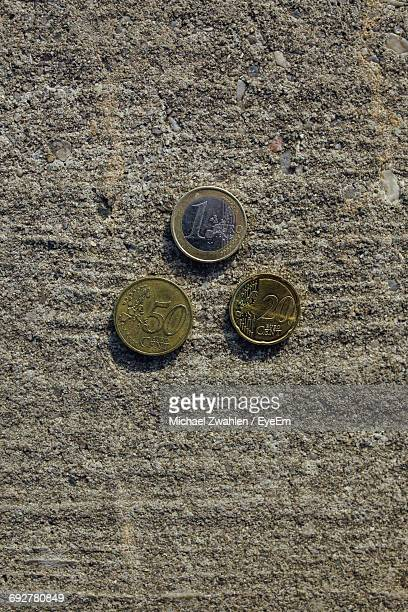 High Angle View Of Euro Coins