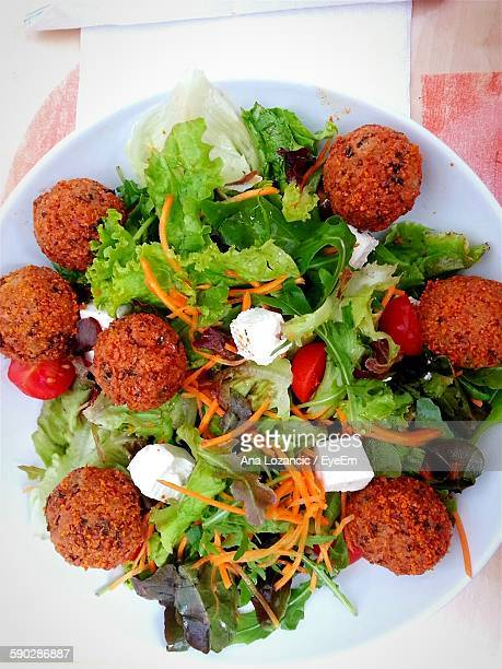 High Angle View Of Falafel Served In Plate