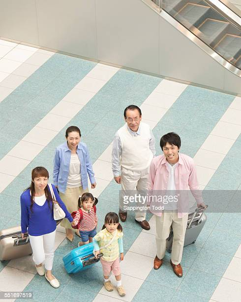 High Angle View Of Family Travelling
