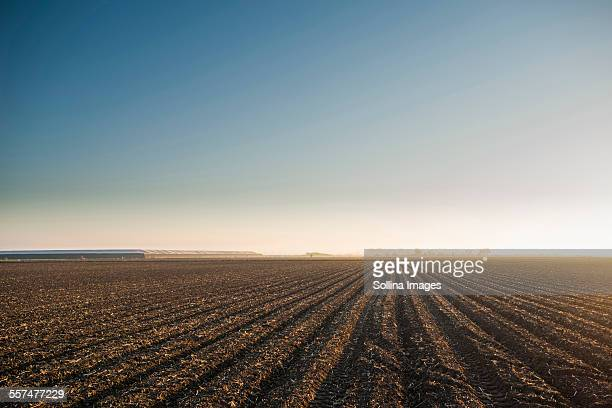 High angle view of farm crop fields under blue sky