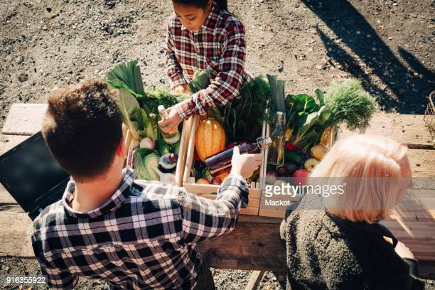 High angle view of farmers arranging vegetables in crate at market