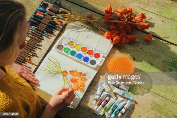 High Angle View Of Female Artist Painting Flowers In Notebook