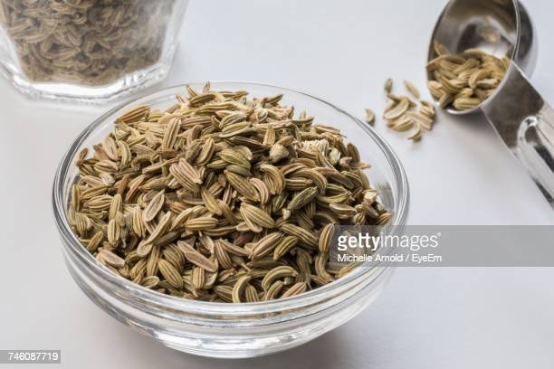 High Angle View Of Fennel Seeds In Bowl On White Table