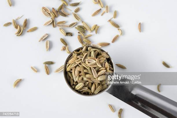 High Angle View Of Fennel Seeds In Measuring Spoon Against White Background
