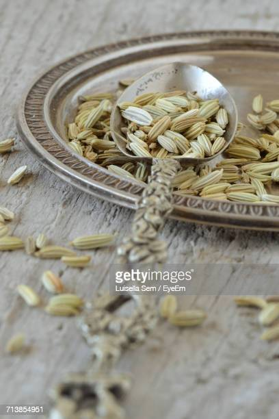 High Angle View Of Fennel Seeds