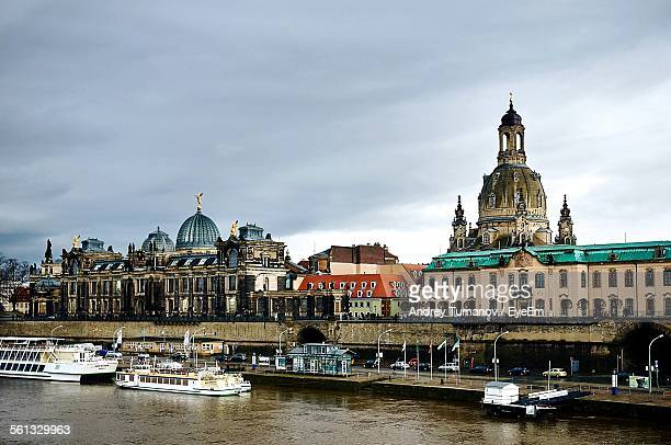 High Angle View Of Ferry Boats In River Against Dresden Frauenkirch