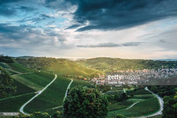 high angle view of field against sky - baden württemberg stock photos and pictures