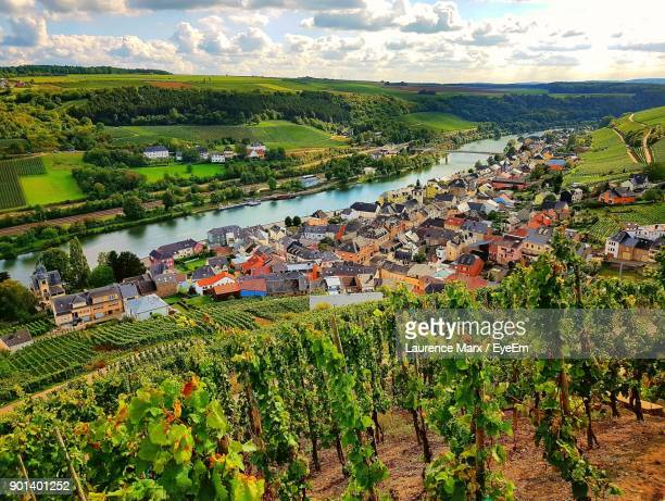 high angle view of field by river against sky - fluss mosel stock-fotos und bilder