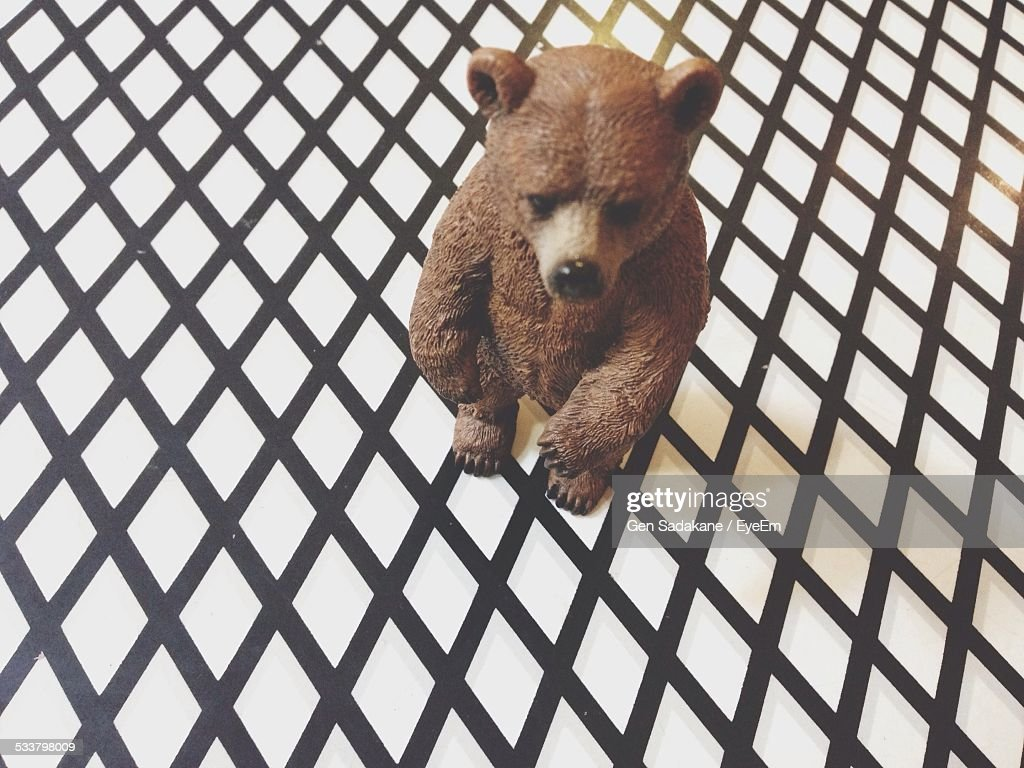 High Angle View Of Figurine Of Bear Toy : Foto stock