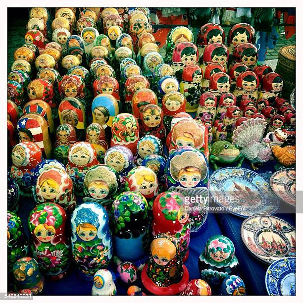 High Angle View Of Figurines For Sale In Market
