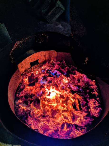 High angle view of fire pit