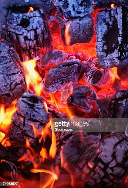 High angle view of firewood burning