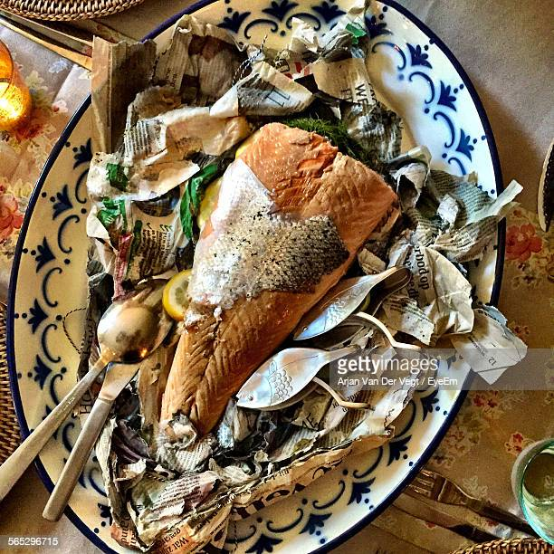 High Angle View Of Fish Served In Plate On Table
