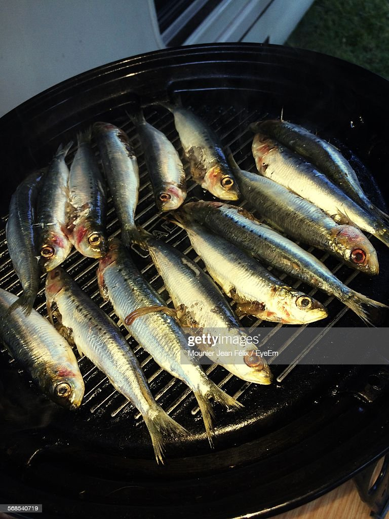 High Angle View Of Fishes On Barbecue : Stock Photo