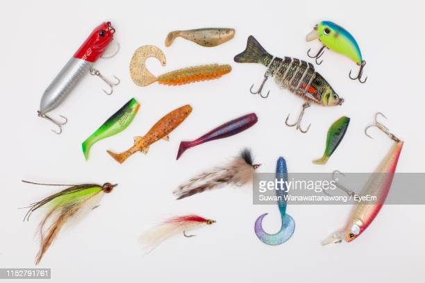 high angle view of fishing hooks against white background - fishing hook stock pictures, royalty-free photos & images