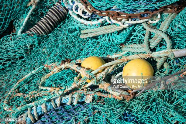high angle view of fishing net - trouville sur mer stock pictures, royalty-free photos & images