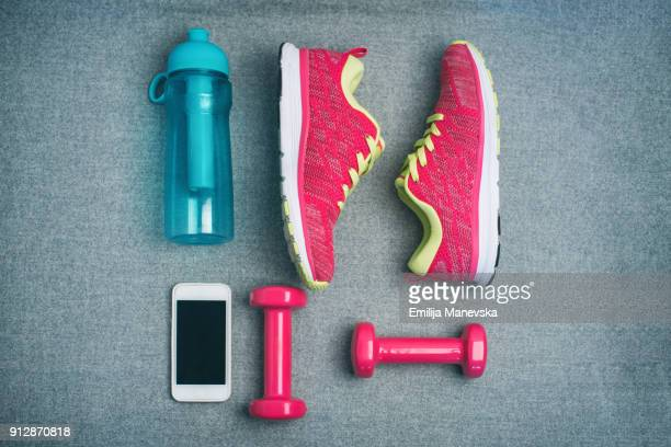high angle view of fitness equipment - knolling concept stock pictures, royalty-free photos & images
