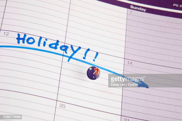 high angle view of flag icon on open diary - calendar icon stock photos and pictures