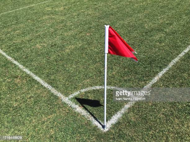 high angle view of flag on field - corner kick stock pictures, royalty-free photos & images