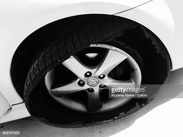 High Angle View Of Flat Tire