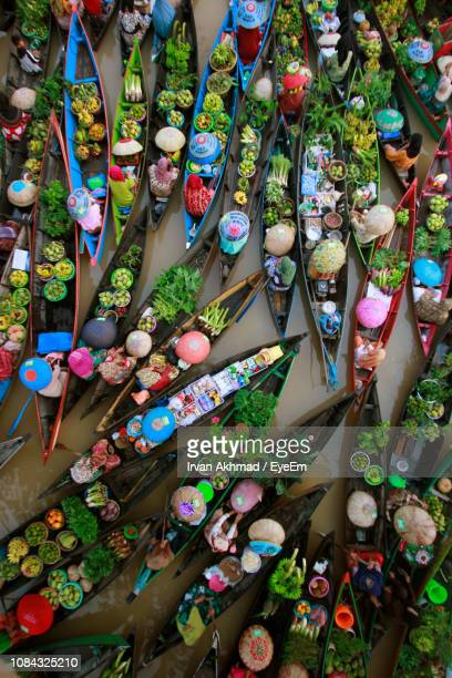 high angle view of floating market - street market stock pictures, royalty-free photos & images