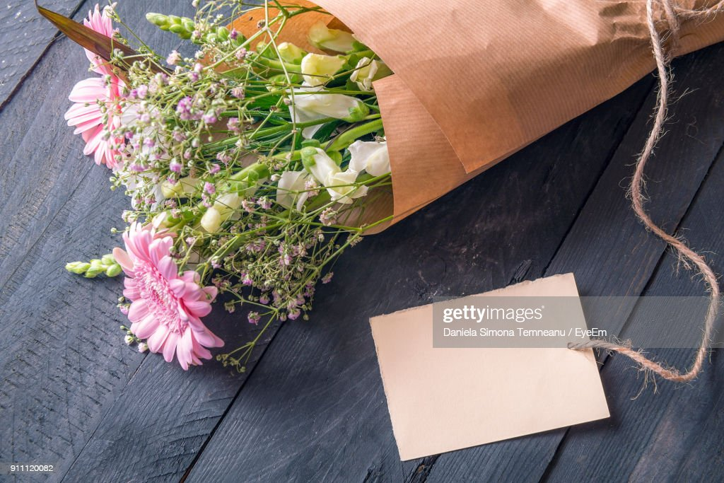 High Angle View Of Flower Bouquet On Table : Stock Photo