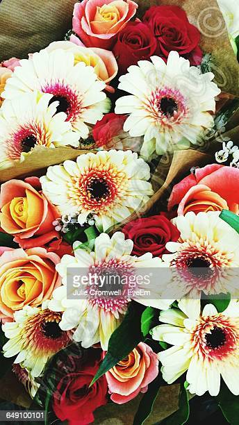 High Angle View Of Flower Bouquet