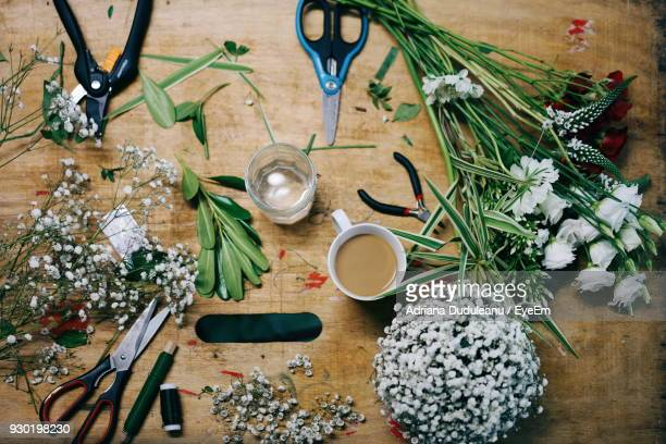 High Angle View Of Flowers And Scissors On Wooden Table