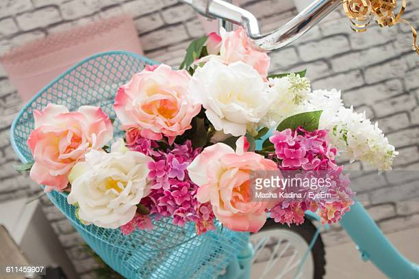 High Angle View Of Flowers In Bicycle Basket
