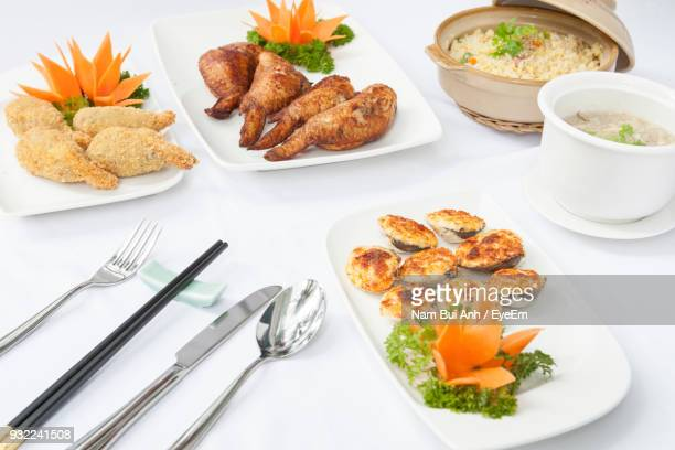 High Angle View Of Food Against White Background