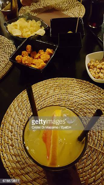 High Angle View Of Food And Drinks On Restaurant Table