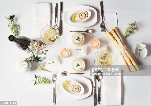 High Angle View Of Food And Place Setting