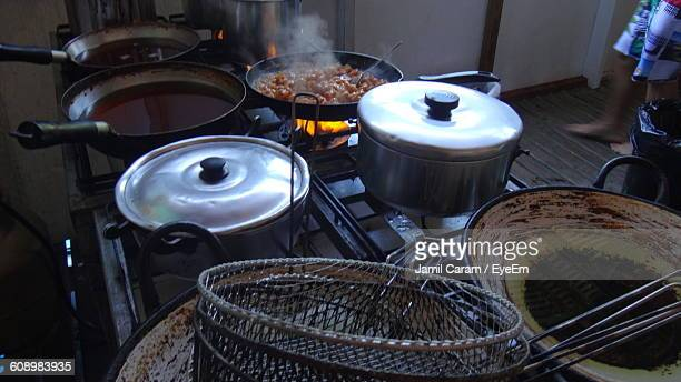 High Angle View Of Food Cooking On Stove