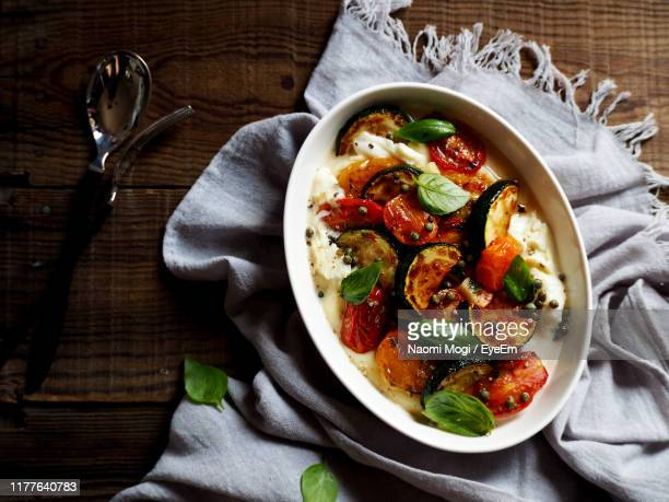 high angle view of food in bowl on table - naomi mogi ストックフォトと画像