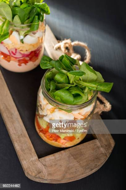 high angle view of food in jar on table - jars with salad stock pictures, royalty-free photos & images