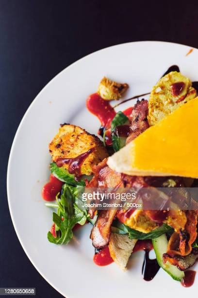 high angle view of food in plate on table, stavanger, rogaland, norway - ローガラン県 ストックフォトと画像
